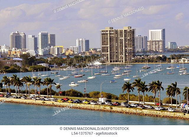Views of Miami Florida skyline macarthur causeway and harbor from departing cruise ship