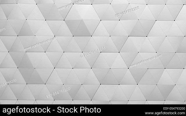 Wall of Triangle-Shaped Tiles Arranged 3d render