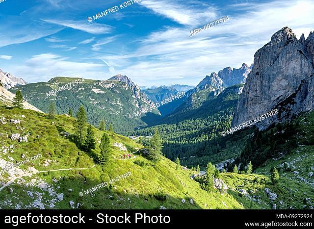 Misurina, Auronzo di Cadore, Belluno province, Veneto, Italy. Mountaineer on the ascent through the Ciadin de Rinbianco in the cadini group