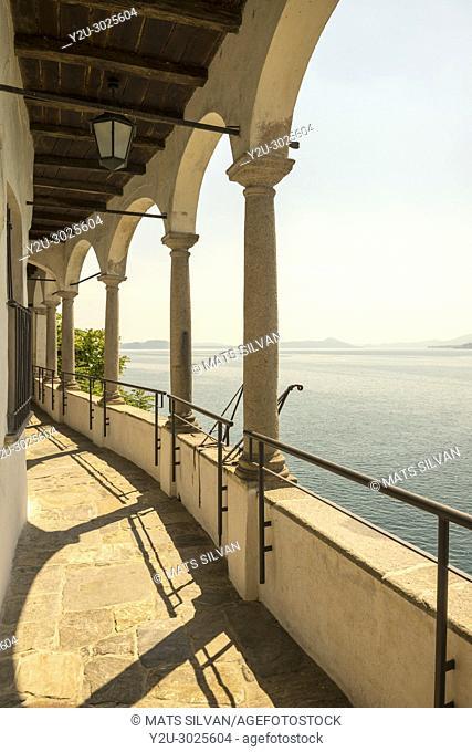 Eremo di Santa Caterina del Sasso and lake Maggiore in Leggiuno in Lombardy, Italy