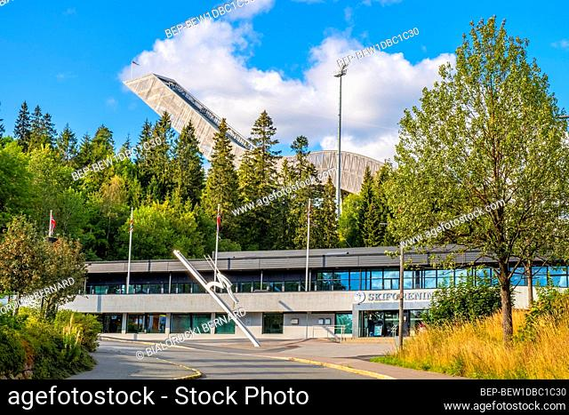 Oslo, Ostlandet / Norway - 2019/09/02: Winter sports facilities of the Holmenkollen National Arena complex - Holmenkollbakken - an Olympic skiing facility after...