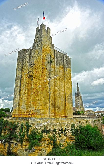 Tour du Roy or King's Tower and Monolithic Church, Saint-Emilion, Gironde Department, Aquitaine, France