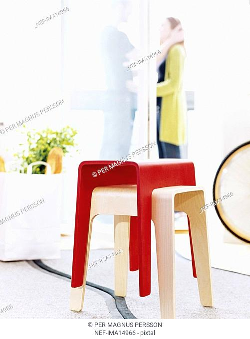 Stools in a room