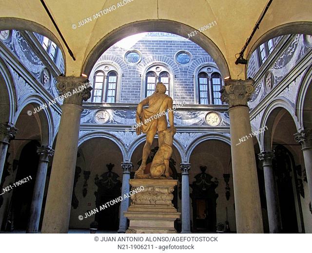 Courtyard of the Columns, also known as Michelozzo's Courtyard (Cortile delle Colonne or Cortile di Michelozzo). The statue is Baccio Bandinelli's Orpheus...