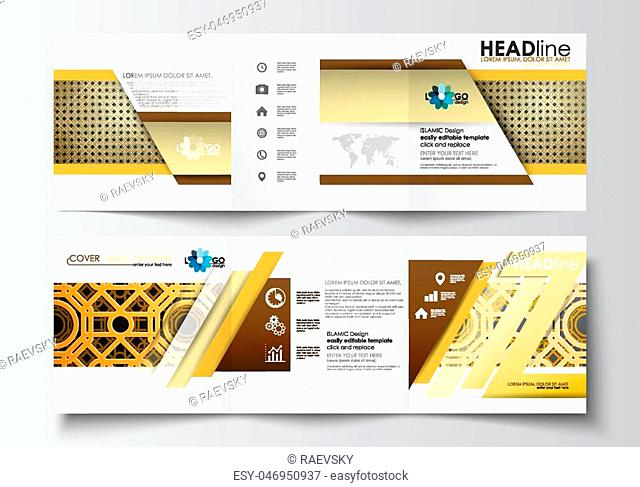 Set of business templates for tri-fold brochures. Square design. Leaflet cover, abstract flat layout, easy editable blank