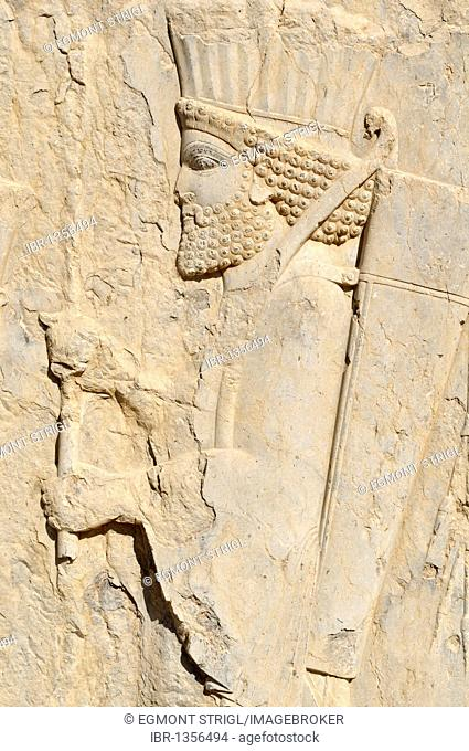 Bas-relief of a Persian soldier at the Achaemenid archeological site of Persepolis, UNESCO World Heritage Site, Persia, Iran, Asia