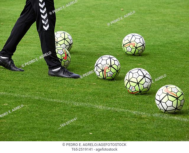 Training Lugo.- second division CD Lugo in Anxo Carro with Luis Milla, image soccer ball on the grass field of the stadium