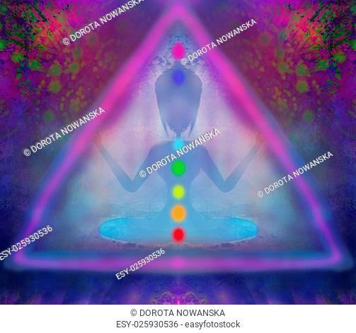 yoga lotus pose. padmasana with colored chakra points
