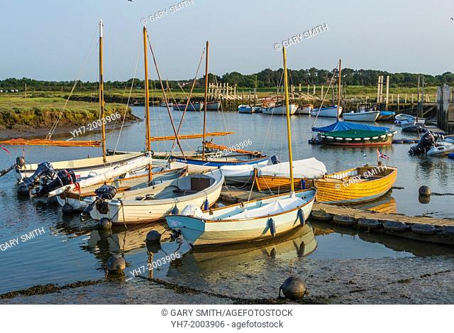 View of Morston Harbour showing moored sailing dinghys