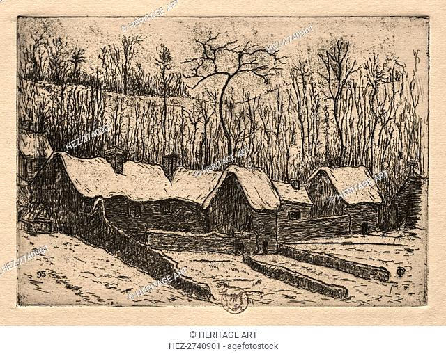 Six Etchings: The Thatched Bakery, Auvers, 1895. Creator: Paul Gachet (French, 1828-1909)