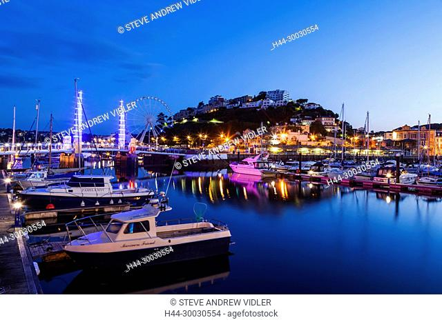 England, Devon, Torquay, Torquay Harbour Bridge and Town Skyline