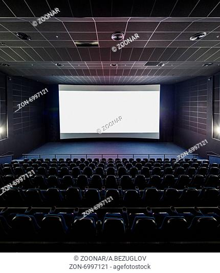 Interior of the modern theater. Front picture on a blank white screen, part of the viewer