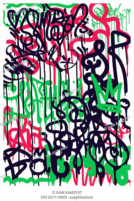 Modern Youth background with colorful graffiti tags. A simple poster in pink and green colors