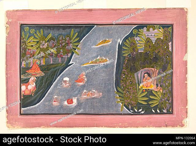 Radha Crosses a River to Interview a Hindu Sage. Artist: Chokha (Indian, active 1799-ca. 1826); Date: ca. 1820; Culture: India (Rajasthan, Mewar); Medium: Ink