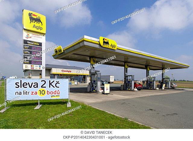 Hungarian oil firm MOL buys 124 Agip stations in the Czech Republic from the Italian company Eni. Petrol station Agip is seen in Hradec Karlove, Czech Republic