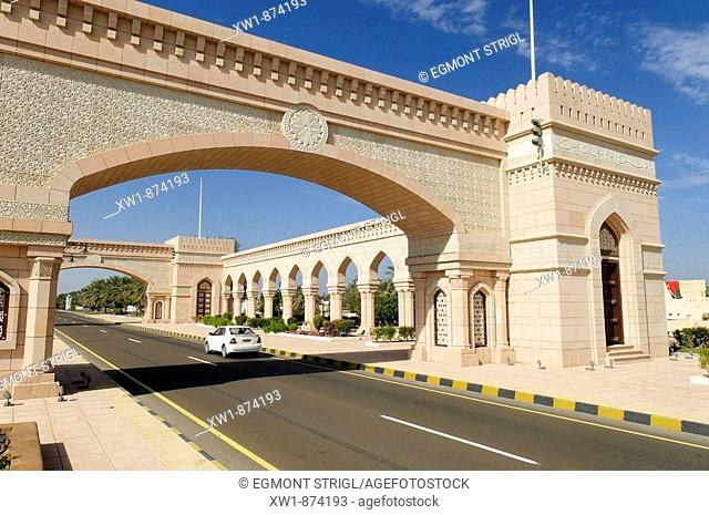 beautification building along the freeway between Muscat and Sohar, Batinah Region, Sultanate of Oman, Middle East