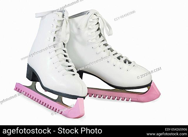 Beautiful women's skates for figure skating white. Presented on a white background.