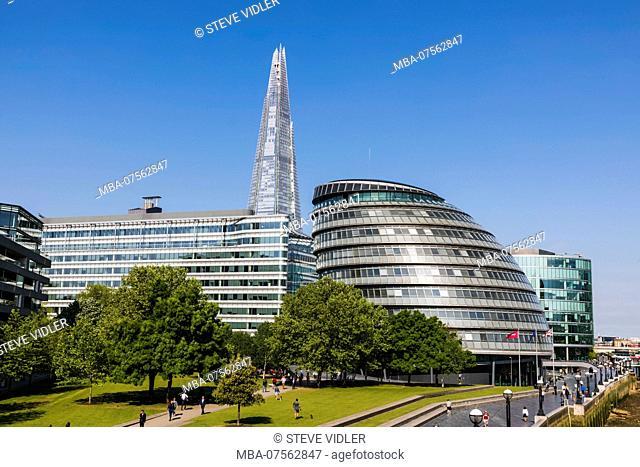 England, London, Southwark, London Bridge City, Potters Field and The Shard