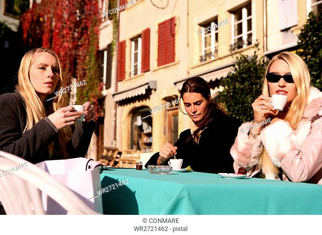women, beauty, cafe, outdoor, coffee, drinking, yo