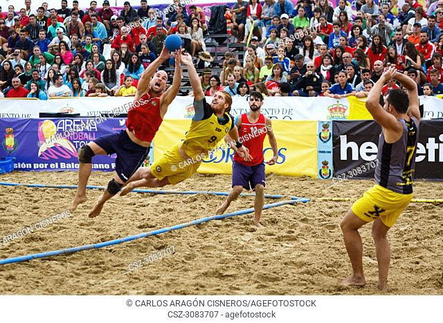 LAREDO, SPAIN - JULY 31: Unidentified, El CBMP Barbate, player launches to goal in the Spain handball Championship celebrated in Laredo in July 31