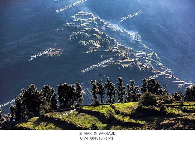 Scenic view sunny foothills, Supi Bageshwar, Uttarakhand, Indian Himalayan Foothills