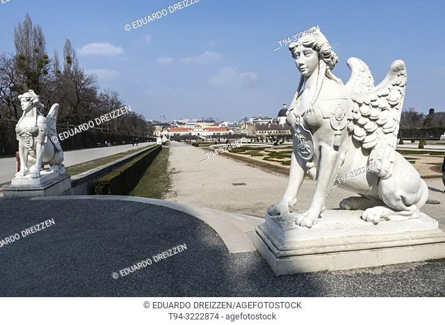 Sculpture of a sphinx at the Belevedere Palace gardens, Vienna