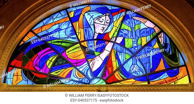 Mary Stained Glass Basilica of Lady of Rosary Fatima Portugal. Church created on site where three Portuguese Shepherd children saw Virgin Mary of the Rosary