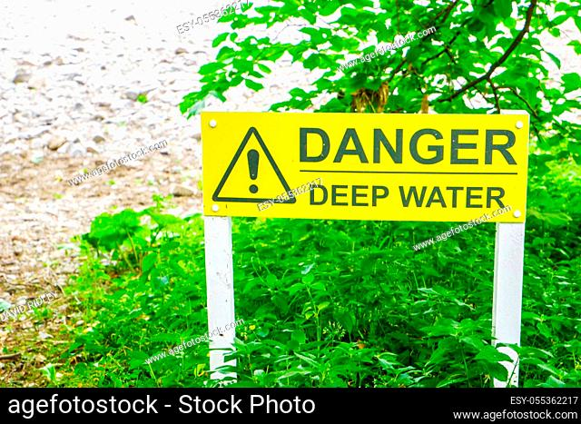 Sign to Warn People of the Danger of Deep Water Cumbria