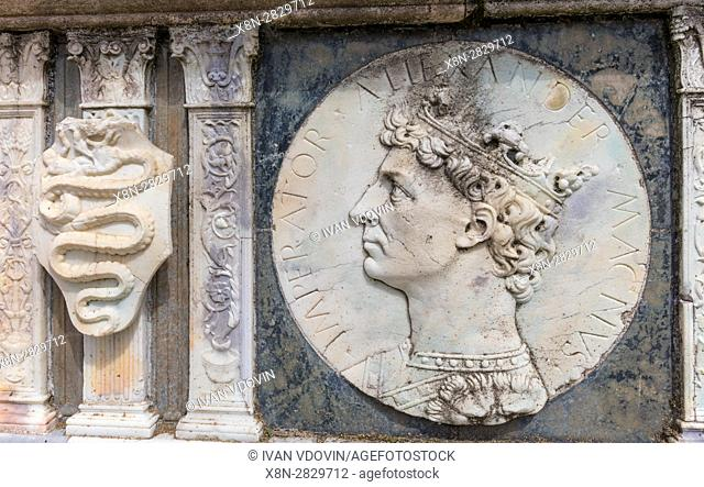 Alexander the Great, bas relief on the Abbey church, Certosa di Pavia monastery, Lombardy, Italy