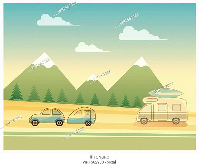 a scene with mountains and cars