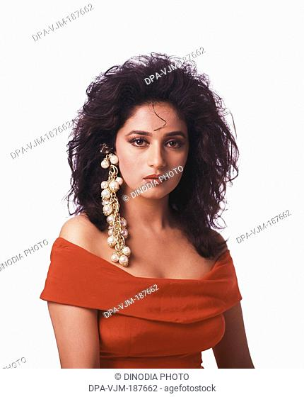 1990, Portrait of Indian film actress Madhuri Dixit