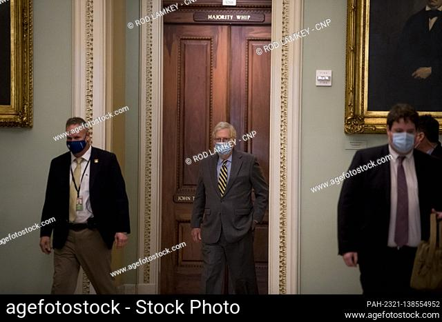 United States Senate Majority Leader Mitch McConnell (Republican of Kentucky) arrives at the U.S. Capitol as the Senate convenes in Washington, DC, Wednesday