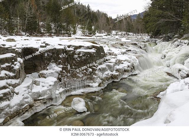 Iced over cascades at Rocky Gorge Scenic Area, along the Swift River, in Albany, New Hampshire during the winter months. Designated a scenic area in 1961
