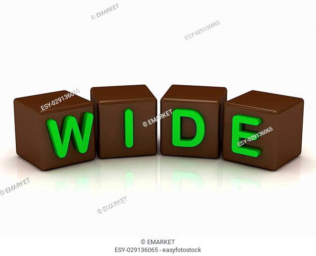 WIDE inscription bright green letters on the cubes of chocolate isolated on white background