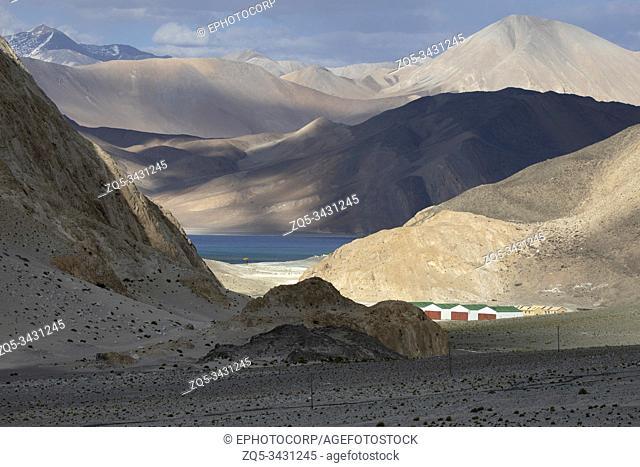 Pangong Tso or Pangong Lake an endorheic lake in the himalayas, Jammu and Kashmir, India
