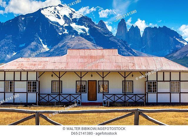 Chile, Magallanes Region, Torres del Paine National Park, old estancia ranch buildings