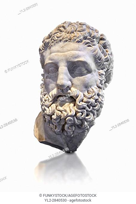 Roman sculpture head of Hercules, mid 2nd cent AD excavated from the Vale Giardino, Nemi. The National Roman Museum, Rome, Italy