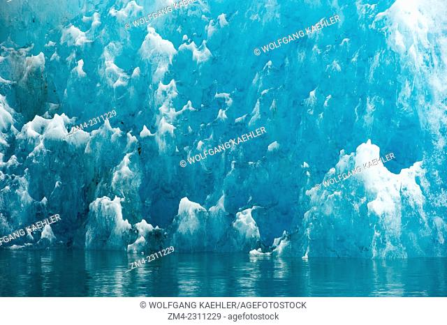 Detail of iceberg from LeConte Glacier drifting in LeConte Bay, Tongass National Forest, Southeast Alaska, USA