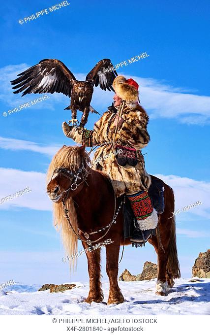 Mongolia, Bayan-Olgii province, Seil habi, Kazakh eagle hunter with his Golden Eagle in Altai mountains