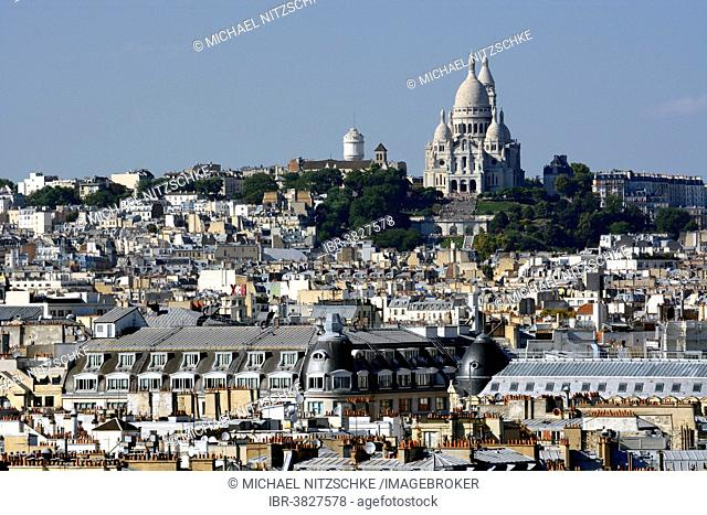 Hill of Montmartre with Sacré-Cœur Basilica, Basilica of the Sacred Heart of Paris, Paris, Île-de-France, France