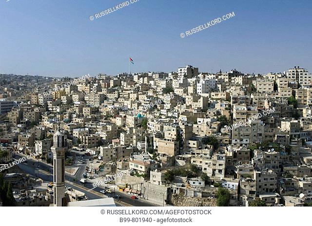 Giant Jordanian Flag Downtown Skyline. Amman. Jordan