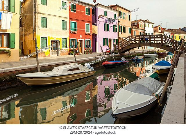 A canal on Burano island in Venice, Italy