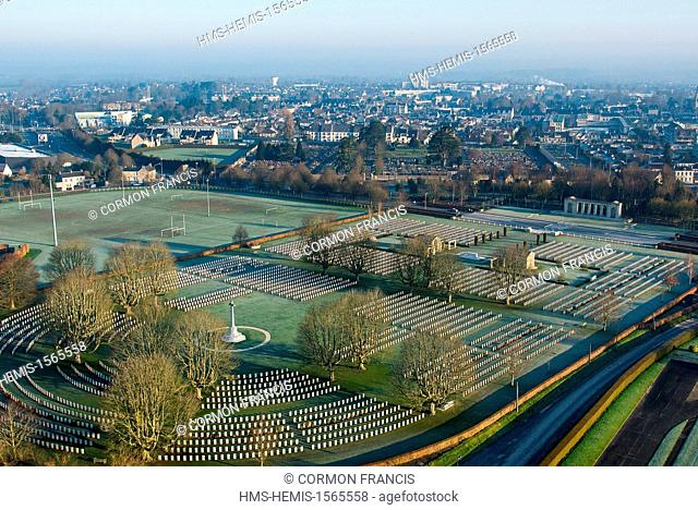 France, Calvados, Bayeux, the largest British military cemetery in France with 4648 tombs (aerial view)
