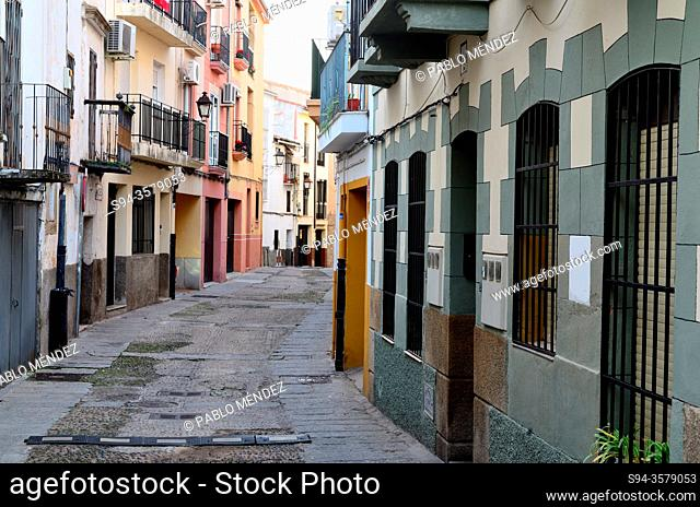 Street within city walls or intramuros, Plasencia, Caceres, Spain