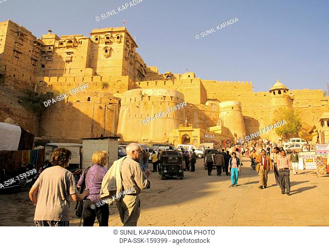 View of Jaislamer fort made of sandstone with imposing wall ; Jaisalmer ; Rajasthan ; India