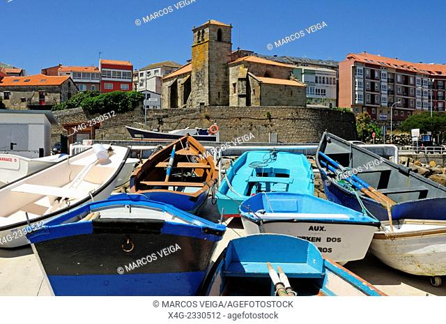 Traditional fishing boats stranded. Laxe, Galicia, Spain