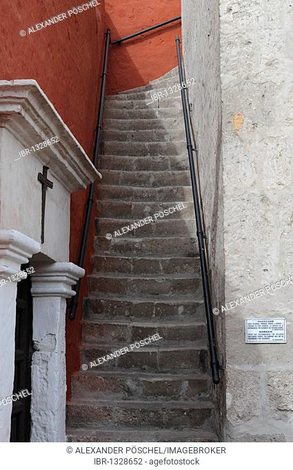 Steep stairs, Santa Catalina monastery, Arequipa, Inca settlement, Quechua settlement, nunnery, Peru, South America, Latin America
