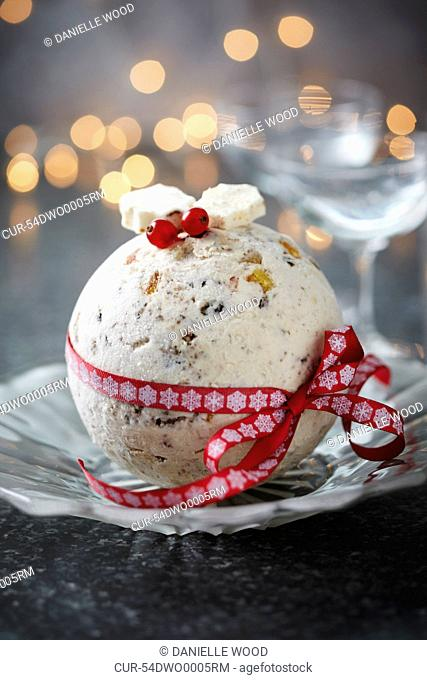 Christmas ice cream bombe on plate