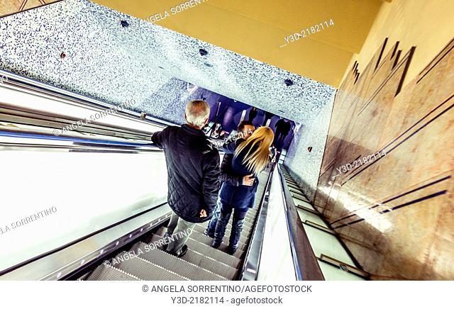 Lovers in Naples metro station, Campania, Italy