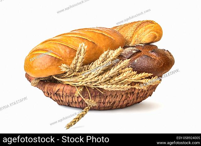 Basket with bread isolated on a white background